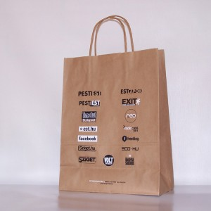 Papír szalagfüles táskákfehér vagy natúr ÚJRA PAPÍR KÖRNYEZET BARÁT - NEM KELL FÁT KIVÁGNI Nagy tételben, gép soron gyártott - minimum 10 000 db Kis tételben rendelhető - minimum 250 db anyag: 80 gr-os kraft papírból készül nyomás: 1 színtől - 4 DIREKT SZÍNNEL terhelhető kivitel: papír szalagfül teher bírás: 3-4 kiló méret: 22 x 28 x 11 , 26 x 35 x 12, 32 x 42 x 12 x 55 x 45 x 17 cm Szita nyomással nyomható.